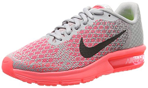 Nike Mädchen Kinder Laufschuh Air Max Sequent 2 Gymnastikschuhe, Grau (Wolf/Black-Cool Grey-Hot Punch), 37.5 EU