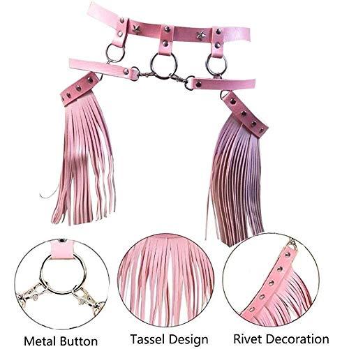 Risareyi Damen Leder Harness verstellbare Punk Strumpfband Body Belt Gürtel mit Fransen Quaste Rock Gürtel Halloween-Kostüm (Color : Pink)