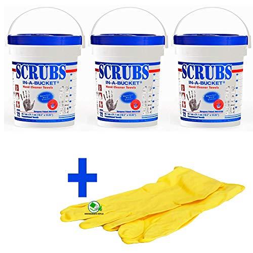 Set 3 Stück Scrubs Reinigungstücher für Hand und Flächen, 72 Box, inklusive Gummihandschuhe -