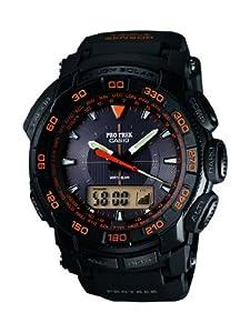 Casio Pro-Trek pour homme model en noir, complète avec chronographe, alarme, rétroéclairage et fonction des données. Avec un mouvement solaire, avec altimètre, baromètre et boussole. 2 ans de garantie de fabrication.