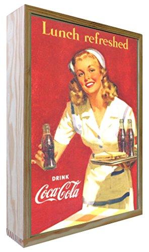 Ccretroiluminados Coca-Cola Lunch Refreshed Cartel Vintage Retro Iluminado, Madera, Multicolor, 20x30x5.3 cm