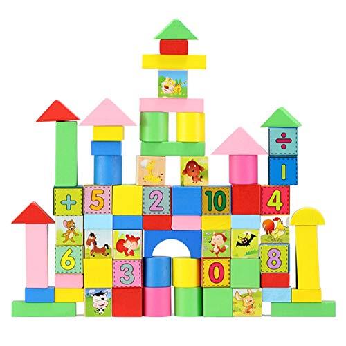 KADONNY Bausteine aus Holz 102 modern farbige Bauklötze in verschiedenen Größen und Formen Bunte Holzbausteine für Kinder, Kleinkinder, Babys ab 0 Jahren Holzspielzeug