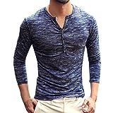 MOIKA T-Shirt Herren Männer Herbst Casual Langarm Henry Kragen Button Slim Fit T-Shirt Top Bluse Longsleeve Langarmshirt Herren Bluse