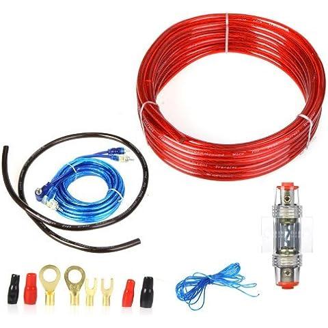 Andoer 1500W Cable de Audio de coche Amplificador Cableado Kit 8GA de instalación de Altavoz Subwoofer Cable de alimentación 60 AMP