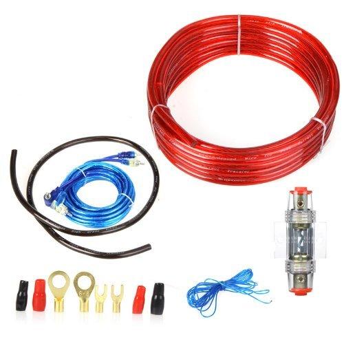 Andoer Titulaire - Kit de instalación 1500W Radio Inalámbrica de Cableado Amplificador Subwoofer 8GA - Cable de alimentación con Fusible de 60A