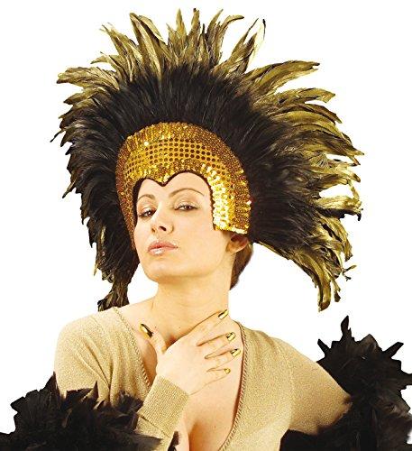 Accessorio Costume Carnevale Brasiliano, Copricapo Piume Moulin Rouge *19663-oro