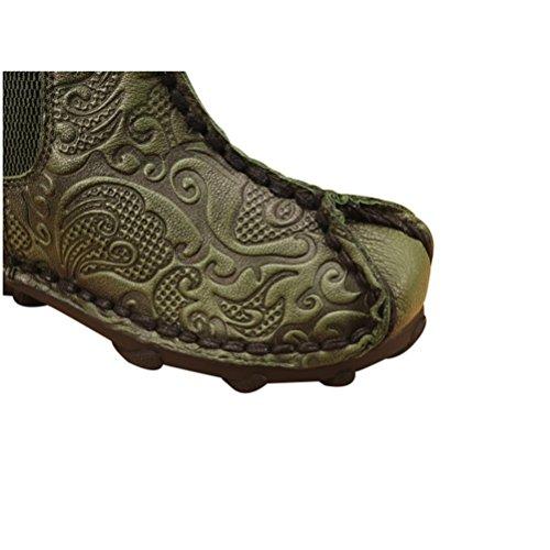 Qpyc Première Couche Des Chaussures De Femmes De Bottes En Cuir Simples Bottes Basses En Cuir Véritable Super-douces Bottes De Femmes Vertes