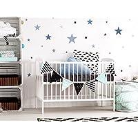 I-love-Wandtattoo WAS-10450 - Set de pegatinas de pared para habitación infantil, estrellas en un suave en colores pastel azul y gris en colores pastel, 25 unidades, estrellado para pegar, adhesivos de pared, pegatinas, decoración de la pared