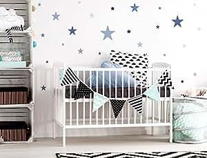 """I-love-Wandtattoo WAS-10450 Kinderzimmer Wandsticker Set """"Sterne in einem zarten Pastell Blau und Pastell Grau"""" 25 Stück Sternenhimmel zum Kleben Wandtattoo Wandaufkleber Sticker Wanddeko"""