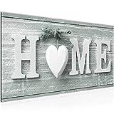 Bilder Home Herz Wandbild 100 x 40 cm Vlies - Leinwand Bild XXL Format Wandbilder Wohnzimmer Wohnung Deko Kunstdrucke Grün 1 Teilig -100% MADE IN GERMANY - Fertig zum Aufhängen 504412c