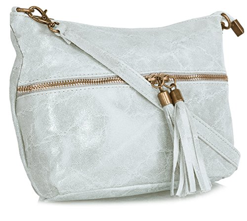 Big Handbag Shop donna vera pelle tasca frontale lunga Tassel Estrattore Borsa Light Grey