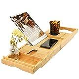 Badewannenablage Bambus Badewannentablett ausziehbar Badewannenauflage Badewannenbrett Bewerben auf Badewannenablage Buchstütze für iPad eReader Tablet Buch usw. 109 x 4,5 x 23 cm (B x H x T)