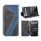 MOBESV Smiley BlackBerry Keyone Hülle Leder, BlackBerry Keyone Tasche Lederhülle/Wallet Case/Ledertasche Handyhülle/Schutzhülle mit Kartenfach für BlackBerry Keyone, Schwarz/Dunkel Blau