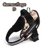 LUCYPET Reflektierende Design Harness Nylon Halskette Persönlichkeit Velcro Widening Harness Hyena Device Thickening Handle Double Control für kleine mittlere große Hunde-Camouflage D,M