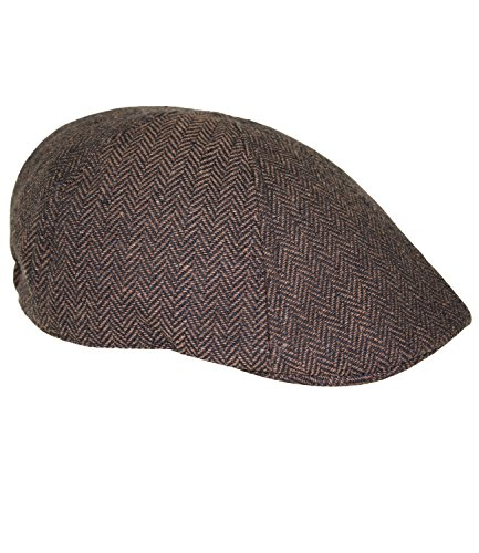 Fiebig Herrenflatcap Flatcap Schiebermütze Schirmmütze Golfermütze Gatsby Wintermütze mit Fischgrätmuster für Männer (FI-42123-W16-HE1-82-XL) in Braun, Größe XL inkl. EveryHead-Hutfibel (Wolle Fischgrätmuster Mit)