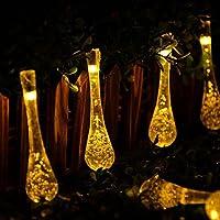 Agooding 20 FT 30 goccia d'acqua LED ghiacciolo alimentata solare da giardino luci leggiadramente della (Bianca Leggiadramente Solare Luce)