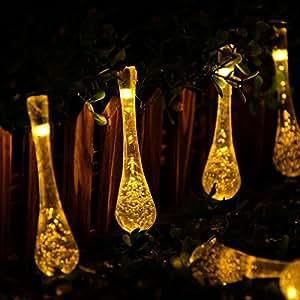 Agooding 20 FT 30 goccia d'acqua LED ghiacciolo alimentata solare da giardino luci leggiadramente della stringa impermeabile Luci di Natale luce decorativa Corde per esterna del giardino (bianco caldo)