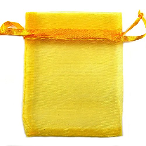 Boolavard 50 monili Borse MIXED Organza monili Wedding Party Xmas Gift Bags Viola Blu Rosa Giallo Nero 7 * 9cm (Oro)