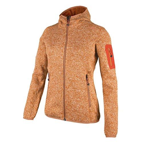 Fleecejacke Sondermodell Kiara Strickfleece Outdoor Jacke CMP für Damen mit Fleece-Innenausstattung und weicher Kapuze- Gr. 46, Aranciata-Bianco-orange (Kapuzen-fleece Orange)