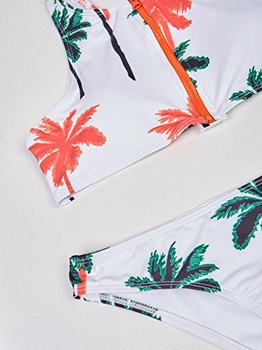Blooming Jelly Femminile Gelatina Coconut Tree Stampa A Vita Alta Bikini Costume Da Bagno Multi #2