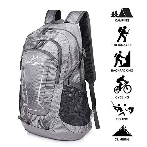 Tasche 6 Tasche (Loocower 45L Leichte Packable Reiserucksack Wanderrucksack, Multifunktionale Tagesrucksack, Faltbare Camping Trekking Rucksäcke, Utra Leicht Outdoor Sport Rucksäcke Tasche (06.Grau))