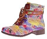 Damen Stiefeletten Kunst Leder Stiefel Knöchel Schuhe Sun & Shadow Boots Mehrfarbig Gr. 37