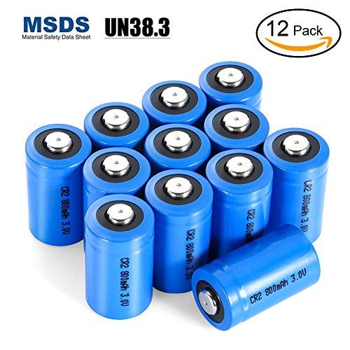 LYPULIGHT CR2 Pilas de Litio Batería 3V 800mAh No Recargable para Linterna, Cámara Digital, Videocámara, Antorcha, Monitor de la Bahía y Más, Pack de 12