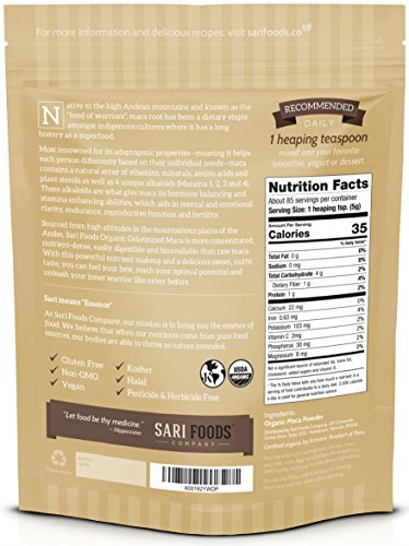 Bio Maca Pulver (425g) Organic Gelatinised Maca Powder (15 Oz) Natural Plant Based Superfood: Hormone Balancing & Stamina Enhancing Abilities, Aids Mental & Emotional Clarity, Reproductive Function & Fertility