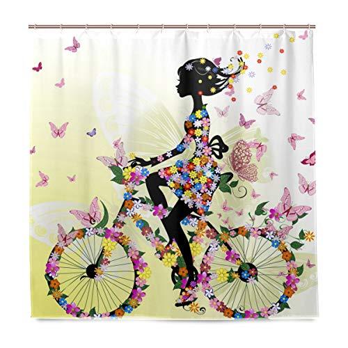 Wamika Mädchen On A Fahrrad Badezimmer Duschvorhang, Innenausstattung, romantischer Schmetterling, Stoff, schimmelresistent, Wasserdichte Badewannenvorhänge Tuch mit 12 Haken 183,0 cm x 183,0 cm