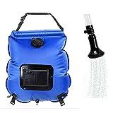 Hotour Douche extérieure portative 5 gallons Douche solaire Sac d'eau Camping douche 20L avec thermomètre