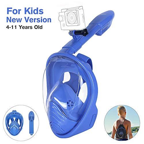 Unigear Tauchmaske, Faltbare Schnorchelmaske Tauchermaske Vollgesichtsmaske, mit 180 Grad Blickfeld und Kamerahaltung, Anti-Fog Anti-Leck, für Erwachsene und Kinder Test
