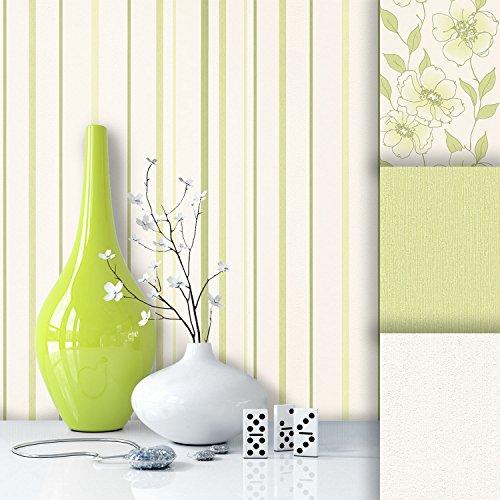 tapete edel vlies gr n wei streifen sch nes design mit luxus effekt moderne natur optik f r. Black Bedroom Furniture Sets. Home Design Ideas