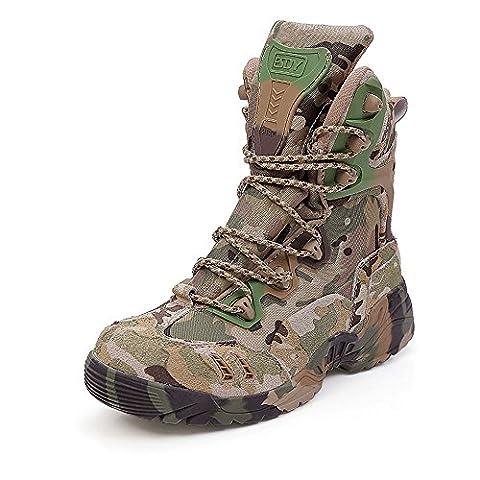 LiliChan Men's 8 pouces Zipper Tactical Boot Army Boots Camouflage (43)