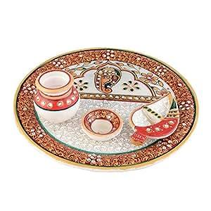 EtsiBitsi Kalash Diya Marble Pooja Thali Set