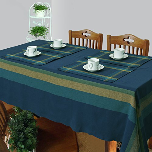 Dhrohar Cotton Woven Table Cover, Runner and Placemat Set for 6 Seater...