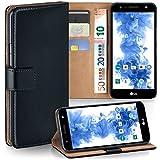 moex LG X Power 2 | Hülle Schwarz mit Karten-Fach 360° Book Klapp-Hülle Handytasche Kunst-Leder Handyhülle für LG X Power 2 Case Flip Cover Schutzhülle Tasche