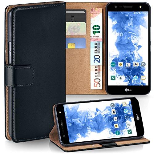 LG X Power 2 Hülle Schwarz mit Karten-Fach [OneFlow 360° Book Klapp-Hülle] Handytasche Kunst-Leder Handyhülle für LG X Power 2 Case Flip Cover Schutzhülle Tasche (Handy Hülle Für Ein Lg)