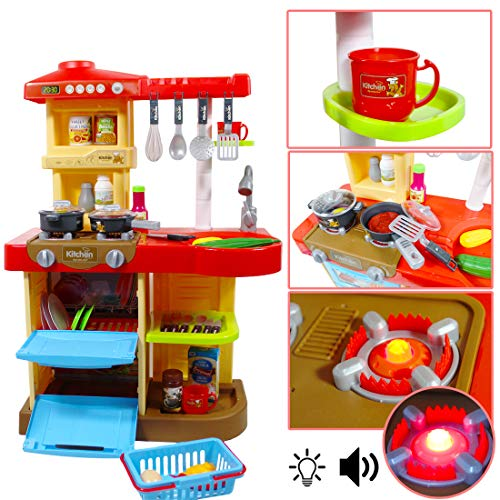 deAO Mi Little Chef -  Cocinita de Juguete con 30 Accesorios Incluidos,  Rojo