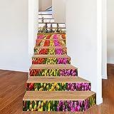 Autocollants D'Escaliers Moulin À Vent Fleur Mer 3D Personnalité Couloir Escaliers...