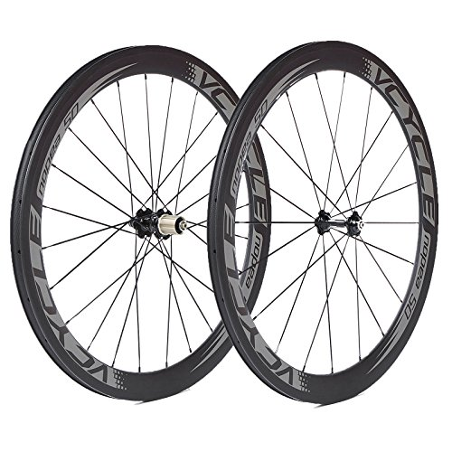 VCYCLE Nopea 700C Carbon Bike Wheels 50mm Tubular 23mm Width UD Matte Shimano or Sram 8 / 9 / 10 / 11 Speed
