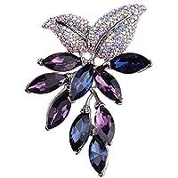 Broche De Flores Para Mujeres Broche De Cristal Creado Para Mujeres,Blue-OneSize