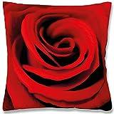 Arsvita Fotodruck Kissenbezug ca. 45x45cm mit/Ohne Kissenfüllung, Dekokissen/Dekokissenhülle in Vielen Verschiedenen Trendigen Farben und Modernen Designs erhältlich (Rose/mit Füllkissen)