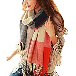 WanderAgio Women's Fashion Long Shawl Big Grid Winter Warm Lattice Large Scarf Orange Red Winter