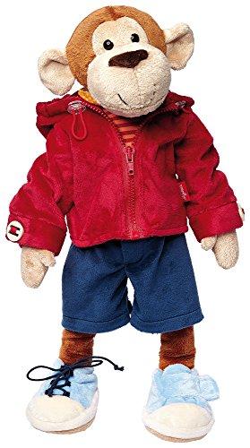 Sigikid 40989 - Mädchen und Jungen, Stofftier Lern-Affe, Spielerisch An Ausziehen lernen, rot/dunkelblau - Großen, Glatten Gesicht