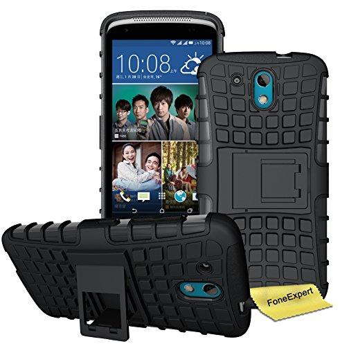 HTC Desire 526G Handy Tasche, FoneExpert® Hülle Abdeckung Cover schutzhülle Tough Strong Rugged Shock Proof Heavy Duty Case für HTC Desire 526G + Displayschutzfolie (Schwarz)