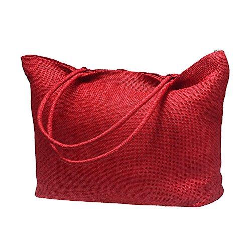 Longra Donna Borse a tracolla paglia intrecciata Rosso