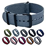Nato Strap 18mm 20mm 22mm Premium Ballistic Nylon Swiss Army Watch Band Replacement Black Stainless Steel Buckle with Top Spring Bar Tool and 4 Spring Bars