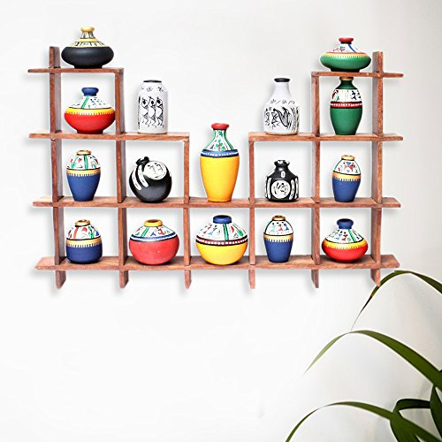 ExclusiveLane 16 Terracotta Warli Handpainted/Decorative Pots With Sheesham Wooden Frame Unique Wall Hanging-Wall Décor / Gifts