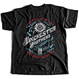 9268 Winchester Brothers Herren T-Shirt Singer Salvage Auto Yard Sam Vampire Pentagram Super Occult Impala Natural(Medium,Black)