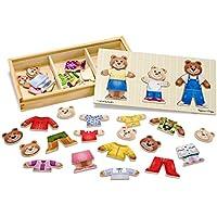 Melissa&Doug Mix 'n Match Wooden Bear Family Dress-Up Puzzle With Storage Case (45 pcs)